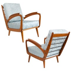 Pair of Sprij Vlaardingen Midcentury Cherry Lounge Chairs, Holland