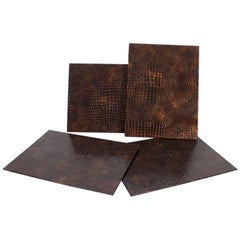 Set of Four Leather Faux Alligator Hard Back Place Mats