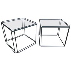 Pair of Mid-Century Modern Metal and Glass Side Tables by Max Sauze, 1970s