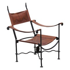 Unique Sculptural Egyptian Woven Leather and Cast Iron Throne Lounge Chairs