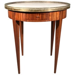 French Mahogany Bouillotte Table with Marble Top and Full Brass Gallery