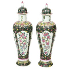 Pair of Chinese Pink and Yellow Painted Temple Jars with Flowers