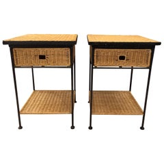 Iron and Wicker Sidetables in the Style of Paul McCobb