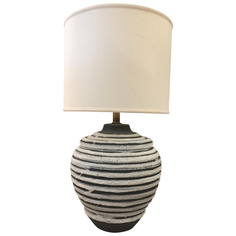Oversized Beehive Style Pottery Lamp For Sale