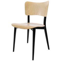 Max Bill Cross Frame Chair, Black Beech Frame/Natural Birch Plywood Seat&Back