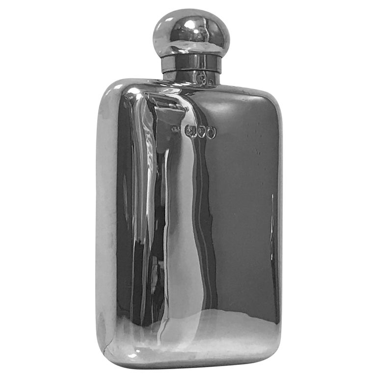 English Sterling Silver Flask, London 1891 W and G Neal For Sale