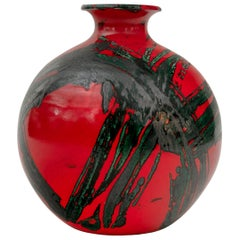 Large Ceramic Midcentury Bulbous Red Vase, Italy 1960s