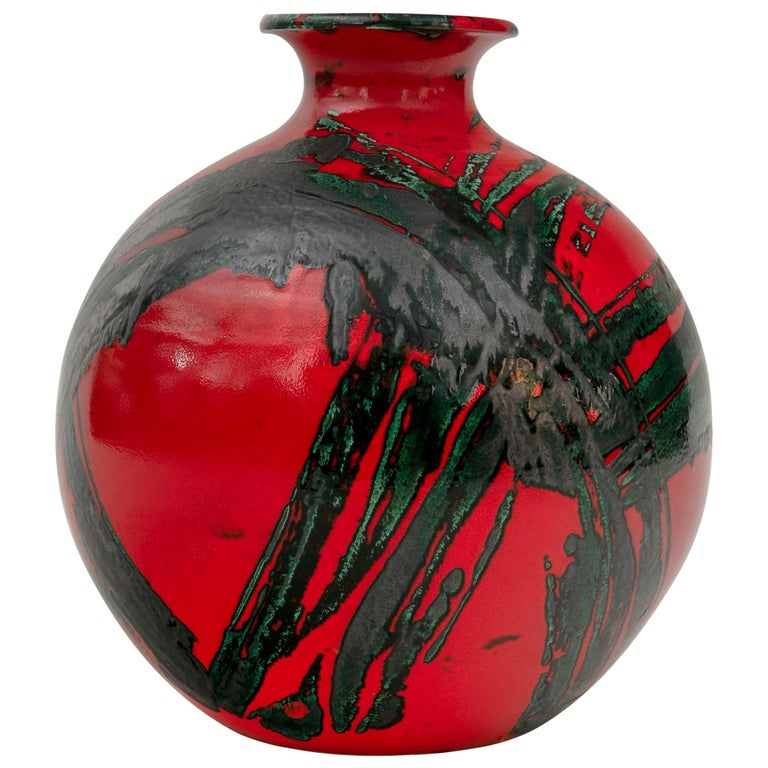 Large Ceramic Midcentury Bulbous Red Vase, Italy 1960s For Sale
