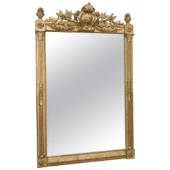 Late 19th Century French Giltwood Overmantle Mirror with Original Mirror Glass