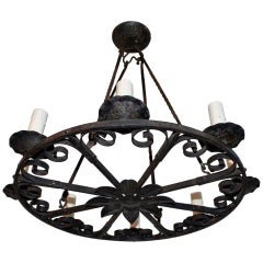 Elegant 1920s French Hands Made Wrought Iron Chandelier