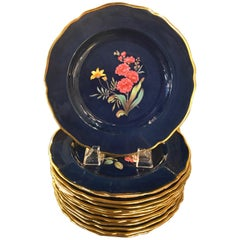 Set of 12 Hand Painted Copeland English Botanical Accent Plates