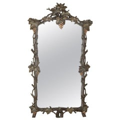 19th Century Italian Hand Carved Giltwood Mirror with Grapevines
