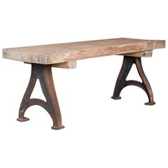 Antique Rustic Wood Console Table with Industrial Cast Iron Legs