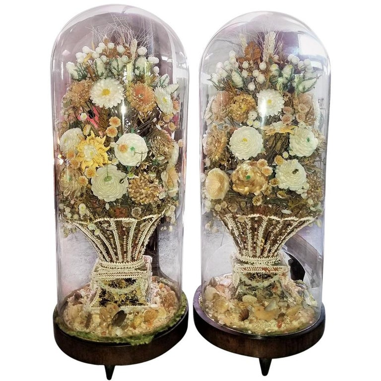 Pair of 19th Century Shell Art Floral Bouquets under Glass Domes For Sale