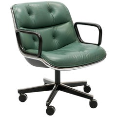Charles Pollock Executive Swivel Office Chair in Seafoam Green Leather by Knoll