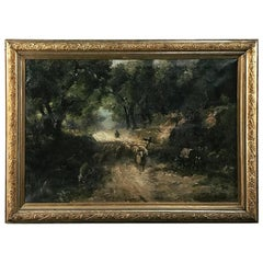 Antique Framed Oil Painting on Canvas by Jeno Karpathy