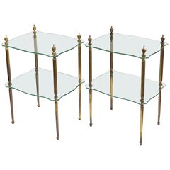 French Side or End Tables of Glass with Gilt Bronze Legs 'Individually Priced'