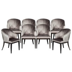 Set of 8 Custom Pleated Dining Chairs by Carrocel