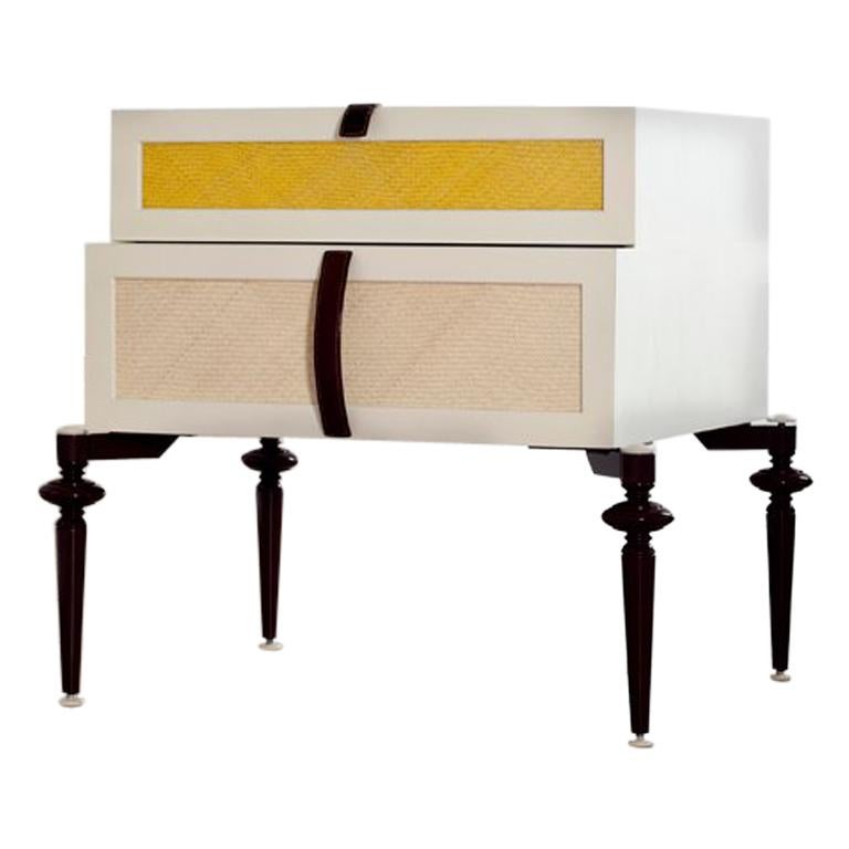 Set of 2 Contemporary Lacquer Wood with Panels of Woven Straw Nightstands For Sale