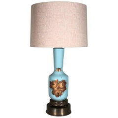 Single Vintage Teal Blue Ceramic and Floral Gilt Table Lamp