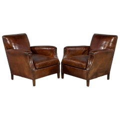 Antique Pair of Original French Leather Club Chairs