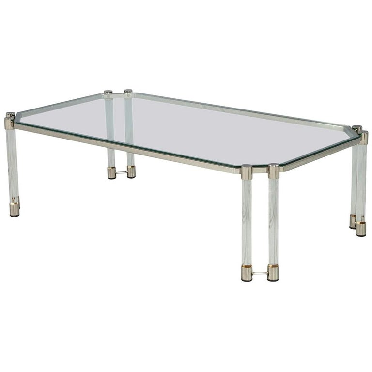 Maison Jansen Style Glass Acrylic Modern Cocktail Table For Sale
