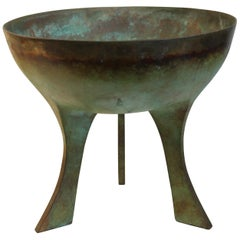 Signed Modernist Bronze Footed Bowl