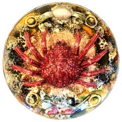 Estate Portuguese Hand Painted Majolica Seafood Plates, Crab Design