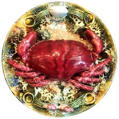 Estate Portuguese Hand Painted Majolica Seafood Plates, Small Crab Design