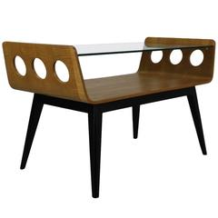 Dutch Design 1950s Bentwood Coffee Table with Glass Top