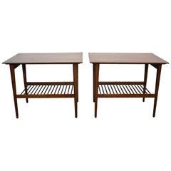 Midcentury Kipp Stewart Walnut Nightstands Side End Tables Dowel Lower Shelf