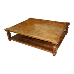 Exceptional Huge French Country Solid Walnut Coffee Table, circa 19th Century