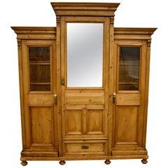 Pine Three Section Mirrored and Glazed Hall Wardrobe