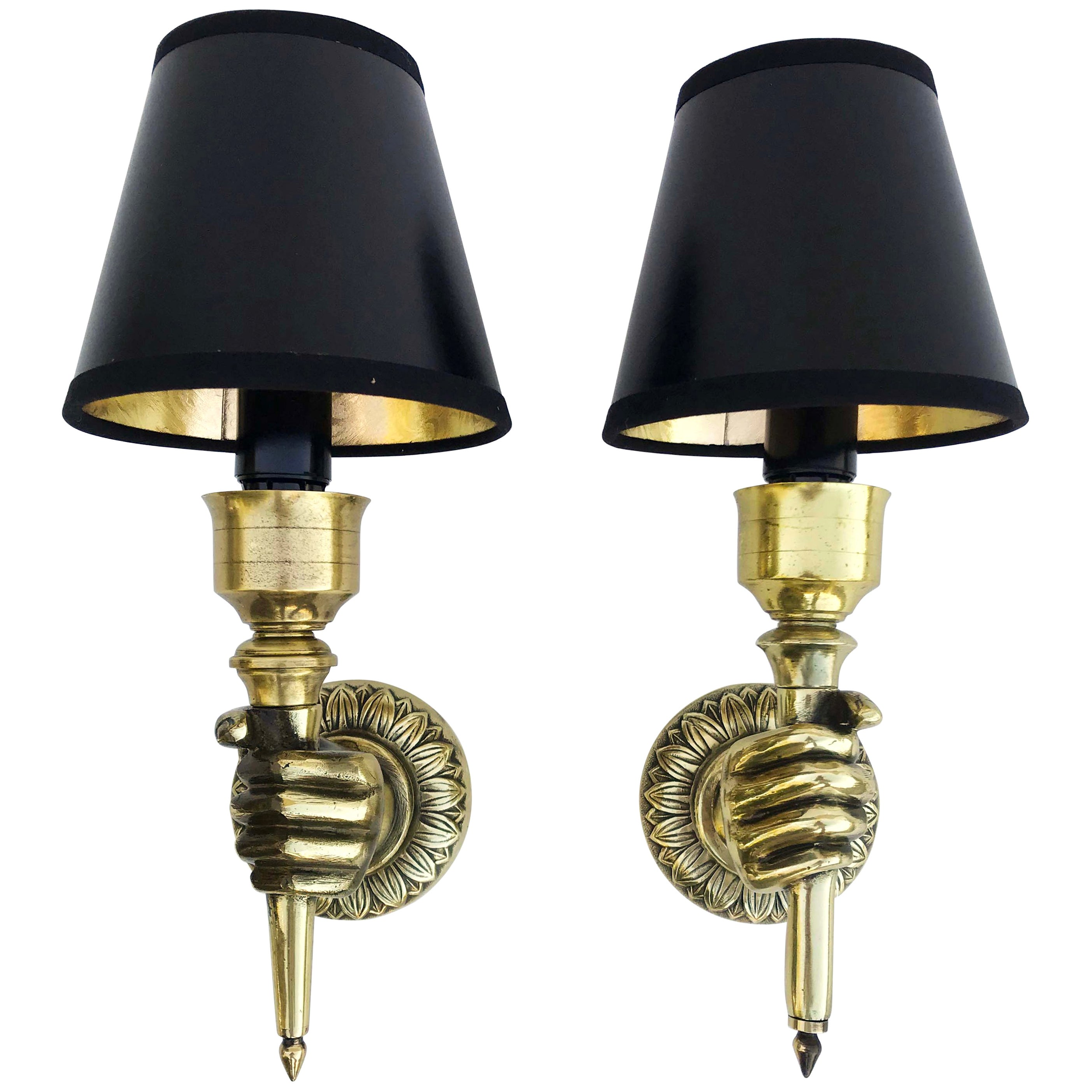 Pair of Andre Arbus Hand Sconces, 4 pairs Available, priced by Pair.