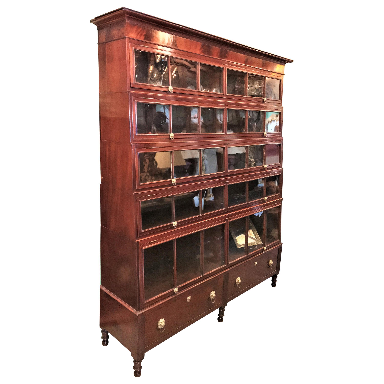 19th Century Regency Mahogany Lawyers Bookcase Wall Cabinet Biotech, 1811-1819
