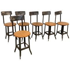 Industrial Painted Steel And Oak Shop Chair Set
