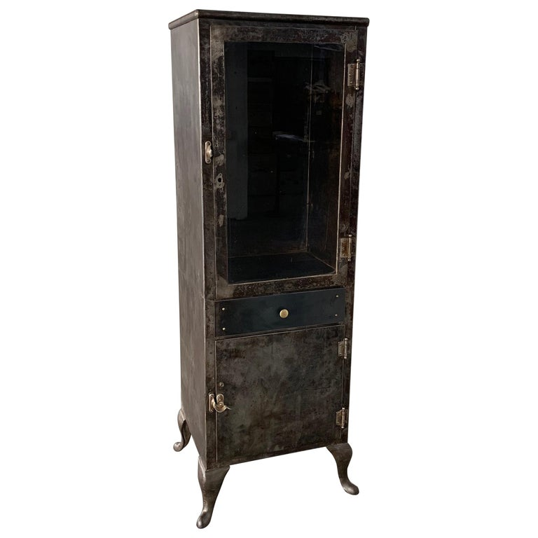 Industrial Brushed Steel Apothecary Cabinet For Sale