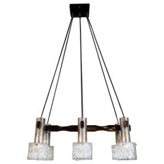 Mid-Century Modern Black Lacquer, Chrome and Textured Glass Six Globe Chandelier