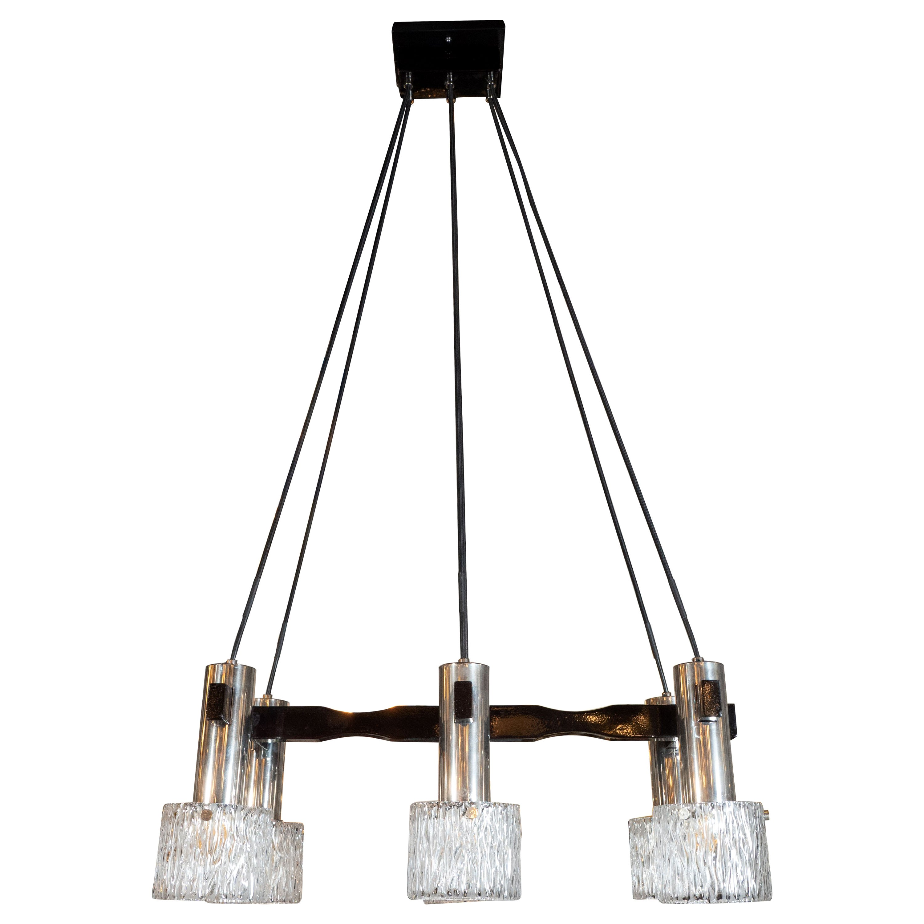 Mid Century Modern Black Lacquer Chrome And Textured Gl Six Globe Chandelier For At 1stdibs