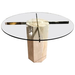 Hollywood Regency Travertine, Brass and Glass Dining Table, circa 1980s