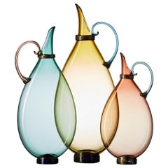 Aqua, Straw, Tea Set of 3 Hand Blown Glass Pitcher Vases by Vetro Vero