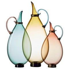 Aqua, Straw, Tea Set of 3 Hand Blown Glass Pitcher Vases by Vetro Vero