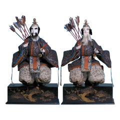 Japanese Pair of Seated Minister Dolls, Hina Ningyo, House of Takeda, Edo