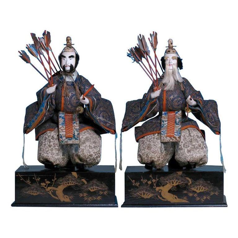 Japanese Pair of Seated Minister Dolls, Hina Ningyo, House of Takeda, Edo For Sale