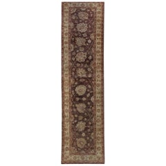 Pakistan Hand Knotted All Over Brown Peshawar Runner Rug