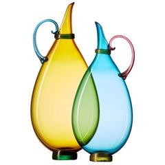 Pair of Vetro Vero Handblown Glass Pitchers, Custom Color Options, Made-to-Order