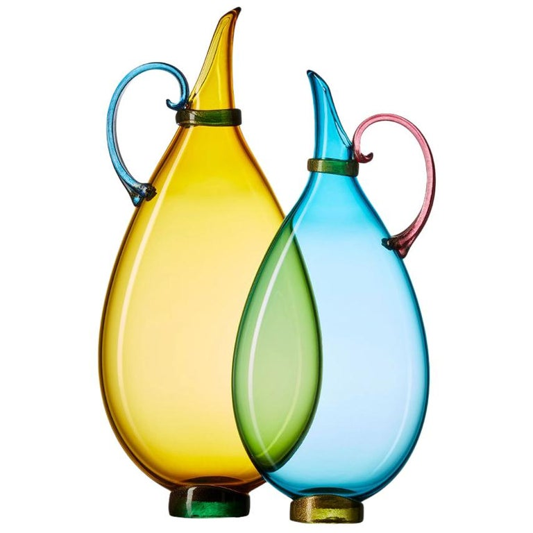 Pair of Vetro Vero Handblown Glass Pitchers, Custom Color Options, Made-to-Order For Sale