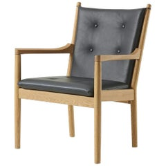 Hans Wegner 1788 Easy Chair, Laquered Oak and Leather