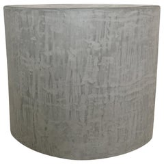 Gray Textured Concrete and Plaster Side Table, Seat