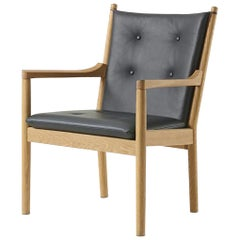Hans Wegner 1788 Easy Chair, Soaped Oak and Leather